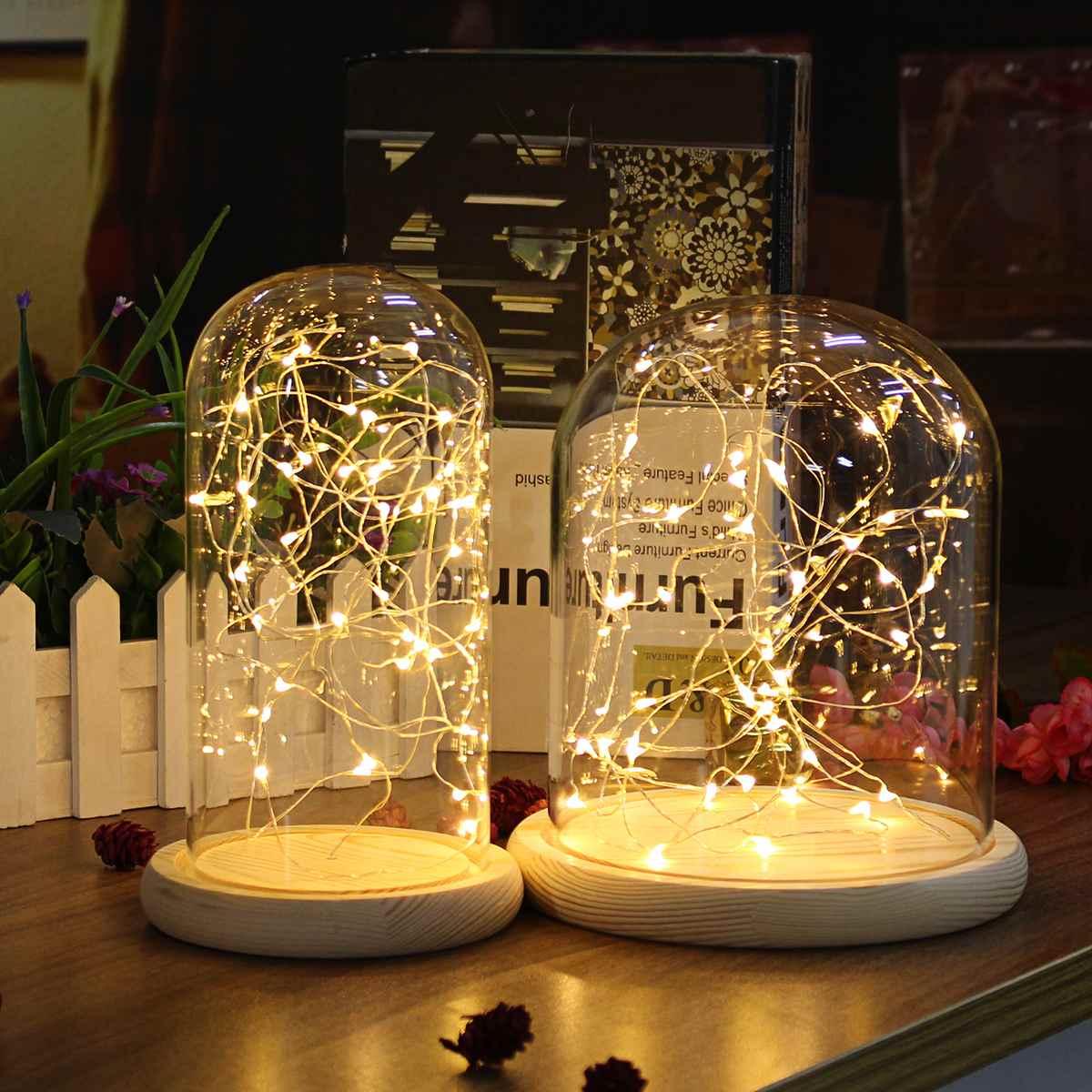 Blume Glas Vase LED Glas Display Dome Globus Box Flaschen W/Holz Basis Blume Landschaft Halter Nacht Licht Decor für Hochzeit
