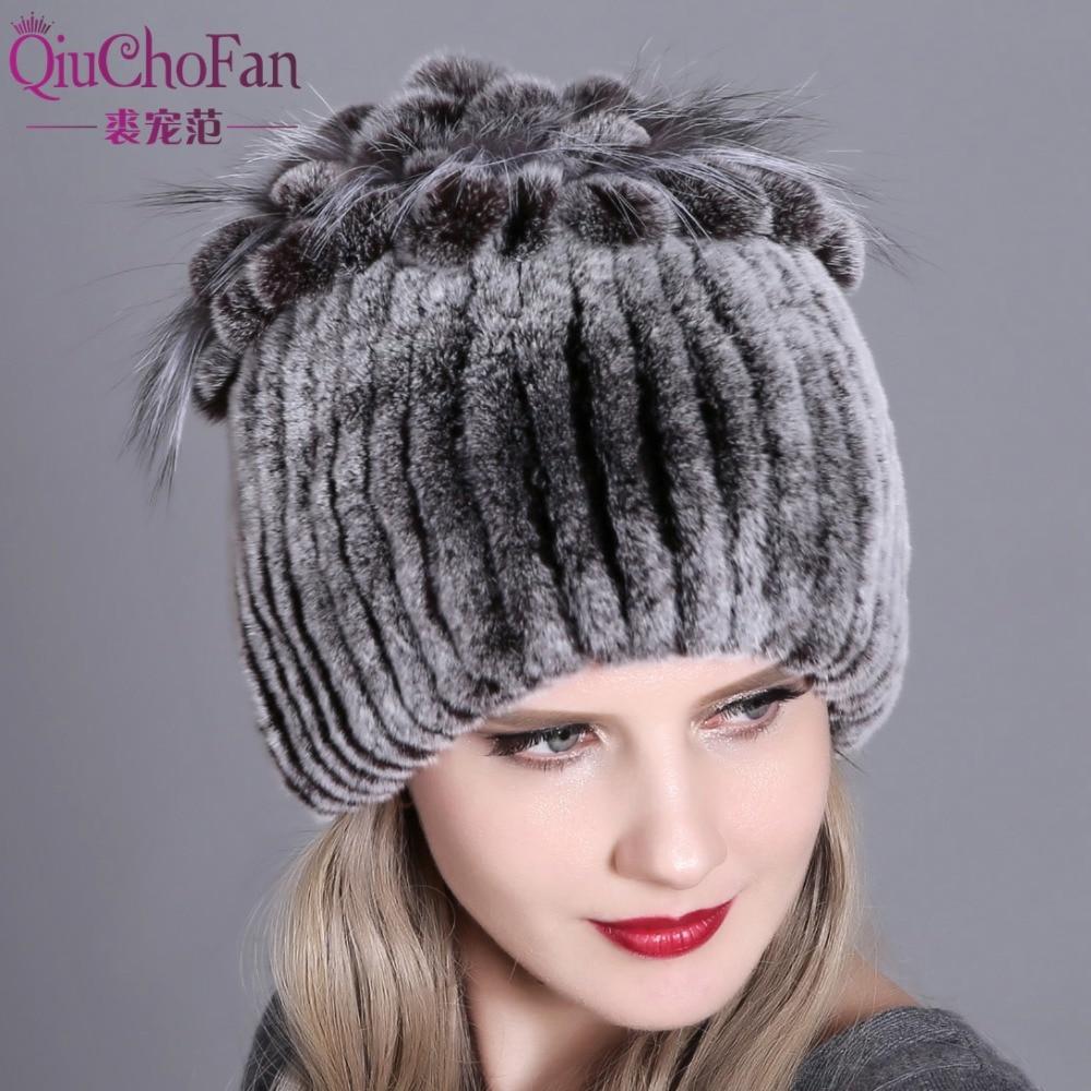 Women fur hat for winter natural rex rabbit fox fur cap russian female fur headgear 2018 brand new f