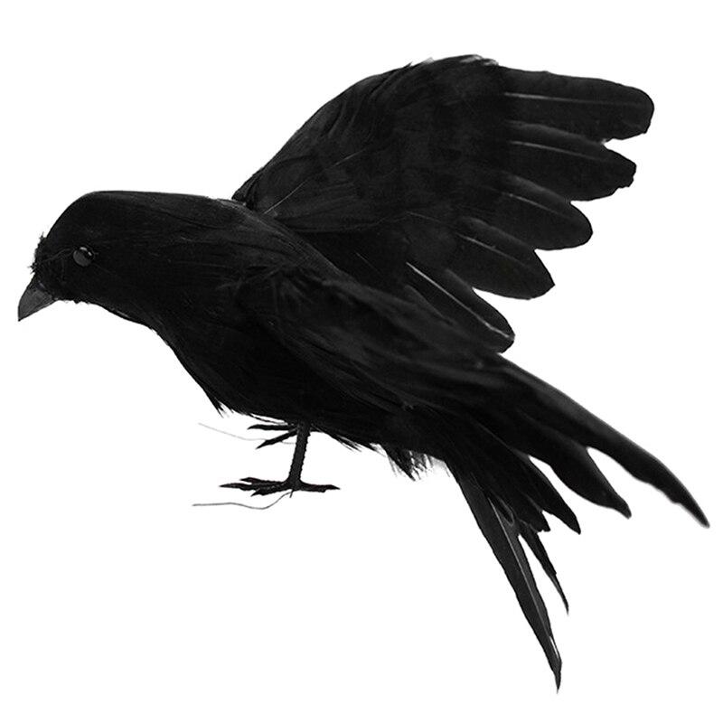 Jardín de cuervo Artificial flocado pájaros señuelo de cuervo Cuervo decoración de Halloween pluma negra
