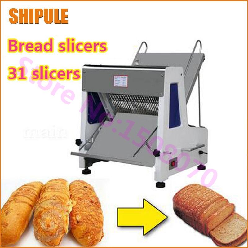SHIPULE 2017 proveedor de oro 31 piezas profesional comercial máquina de cortar pan 50/60Hz máquina cortadora de pan eléctrica
