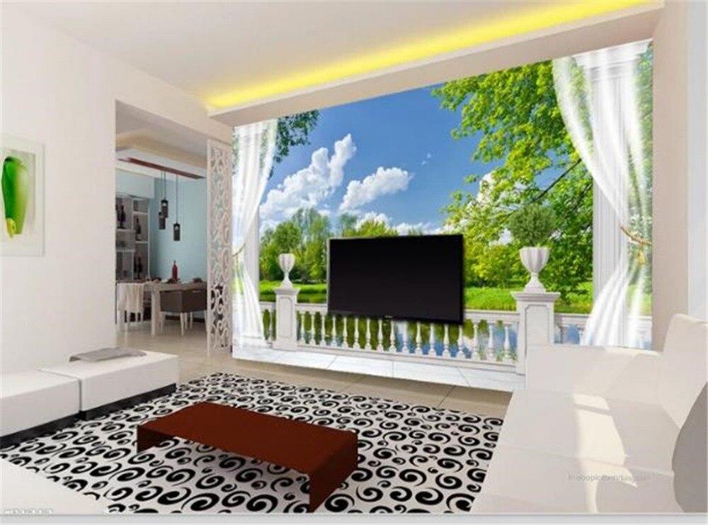 Mural personalizado papel tapiz 3D hermosa columna romana balcón lago Vista 3D porche interior decoración de fondo de pared Mural papel tapiz