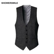 SHOWERSMILE, темно-серый костюм, жилет, мужские шерстяные твидовые осенние винтажные облегающие полосатые жилеты, английский стиль, куртка без рукавов, жилет