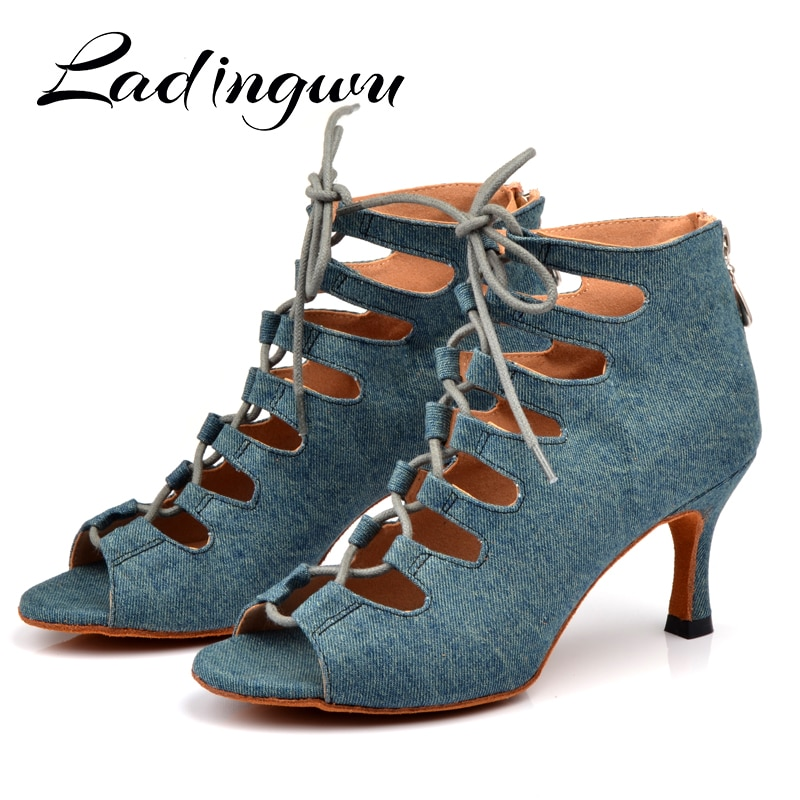 Ladingwu Latin dance shoes Women Denim Blue Dance boots wide thin high heel 10-6cm Salsa Performance Ballroom Shoes