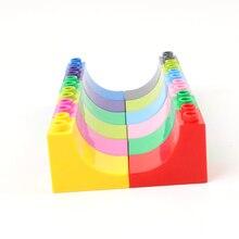 Grande taille bricolage blocs de construction accessoires 2X3 courbe haute brique partie Compatible avec Duploed jouets pour enfants bébé cadeaux