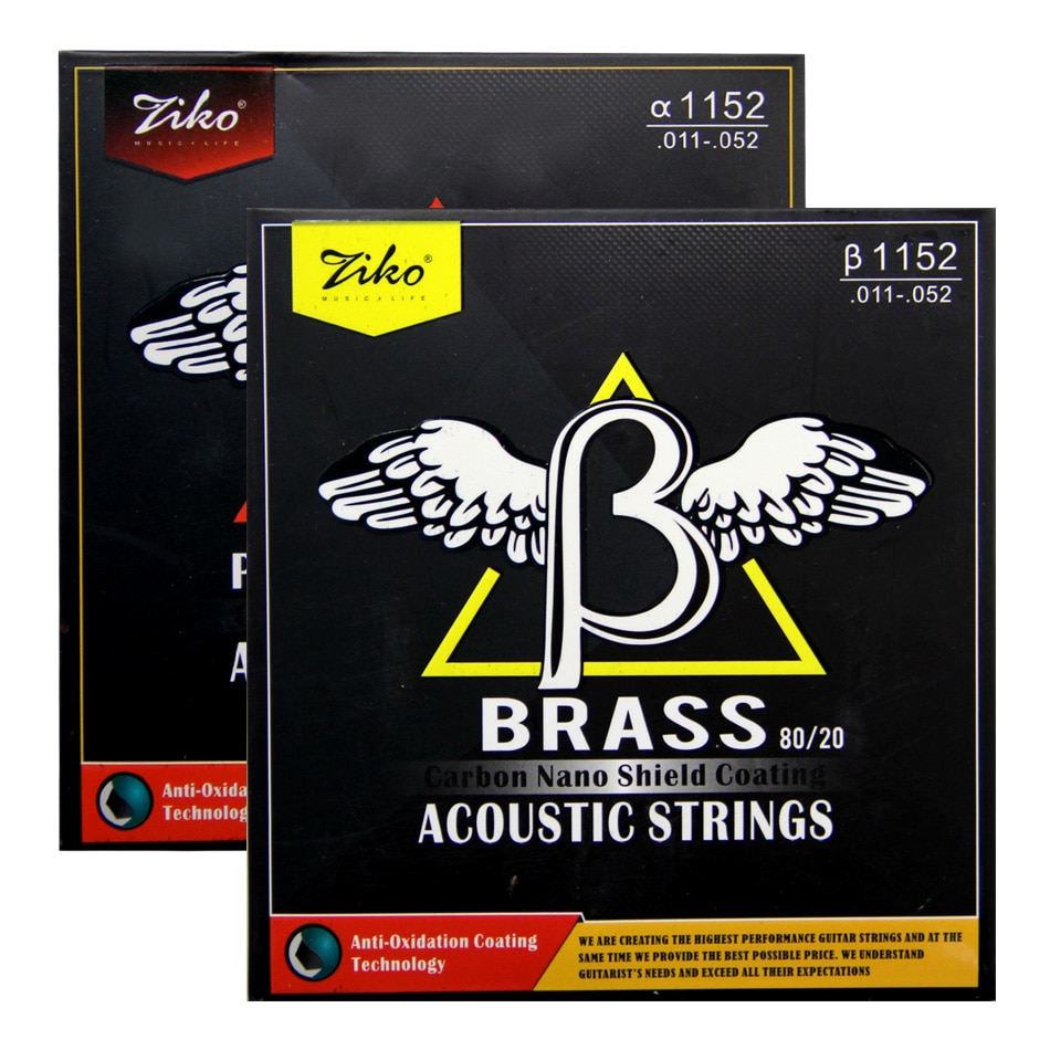 ZIKO  Coating  Acousric Strings BRASS 80/20  / PHOSPHOR BRONZE   .011-.052 Carbon nano shield coating enlarge