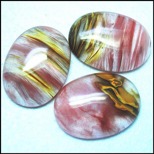 Cabujones de cristal de cuarzo de cerezo con forma ovalada de 3 piezas recién llegados 30x40mm para colgantes que hacen accesorios de joyería