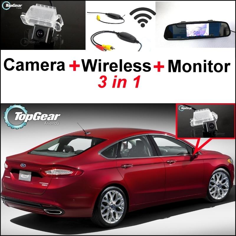 Cámara de visión trasera especial 3 en 1 + receptor inalámbrico + Monitor de espejo Sistema de estacionamiento DIY para Ford Fusion 2013 ~ 2015
