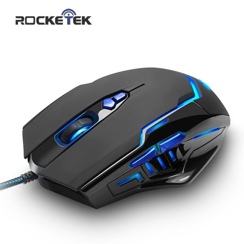 Rocketek high quality USB Gaming Mouse 3200 DPI 7 buttons ergonomic design for desktop computer accessories mice gamer lol PC