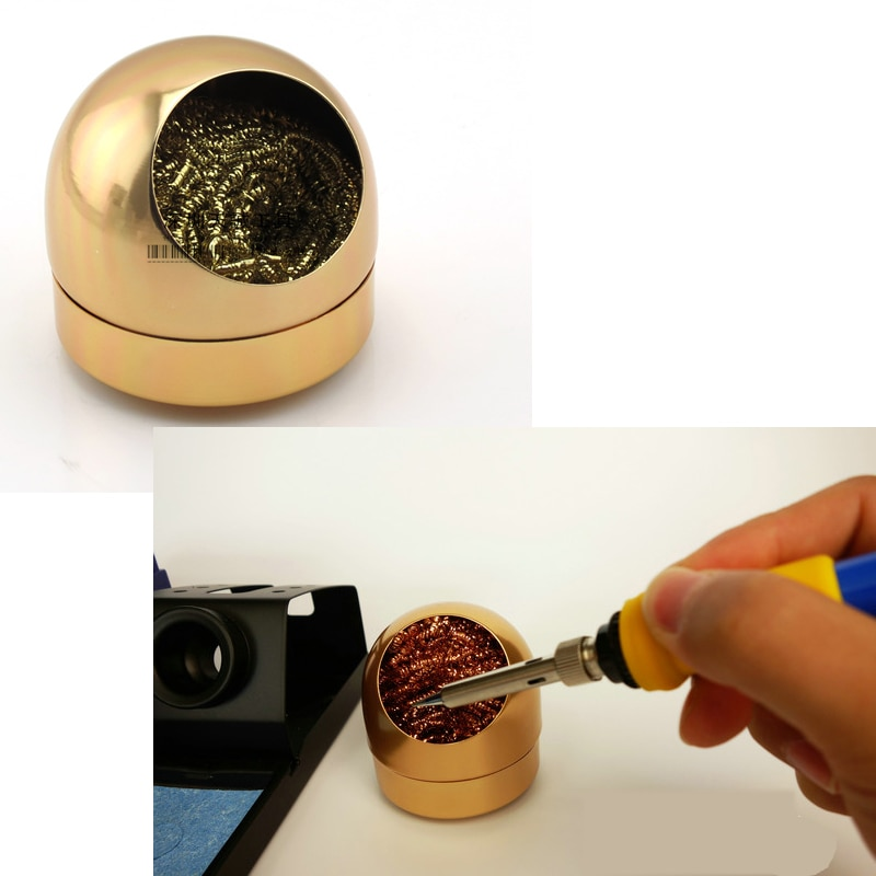 lowest price Cheap nice  66mm Golden Soldering Solder Iron Tip Cleaner Ball With stainless Steel Wire Sponge Cleaners