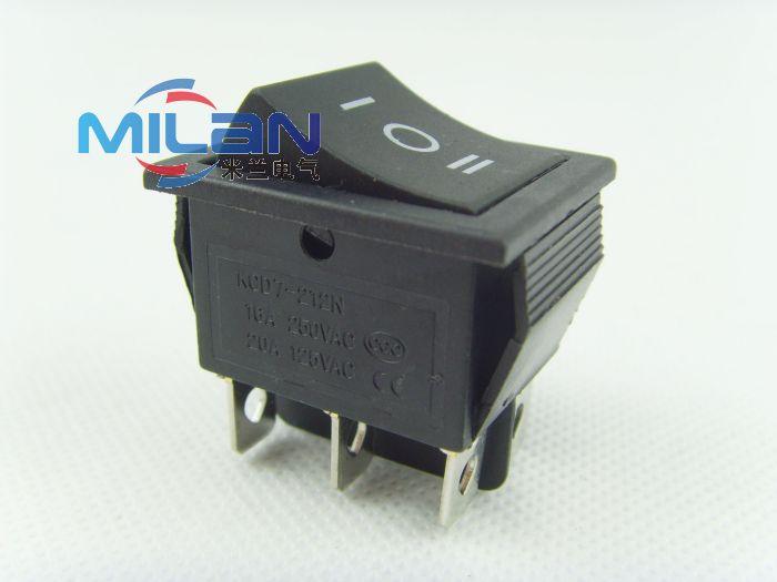 1 Uds KCD7-212N 6 pines AC 16A/20A 250 V/125VAC DPDT botón negro On/Off/On interruptor basculante del barco