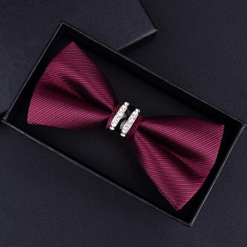 Esmoquin Metal cristal pajarita para boda hombres mujeres Nudo de mariposa corbata negro púrpura azul Jujube rojo novio fiesta banquete Meet Club