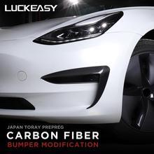 LUCKEASY Automotive exterior accessories carbon fiber bumper modification for Tesla Model 3 Car headlight protection decoration