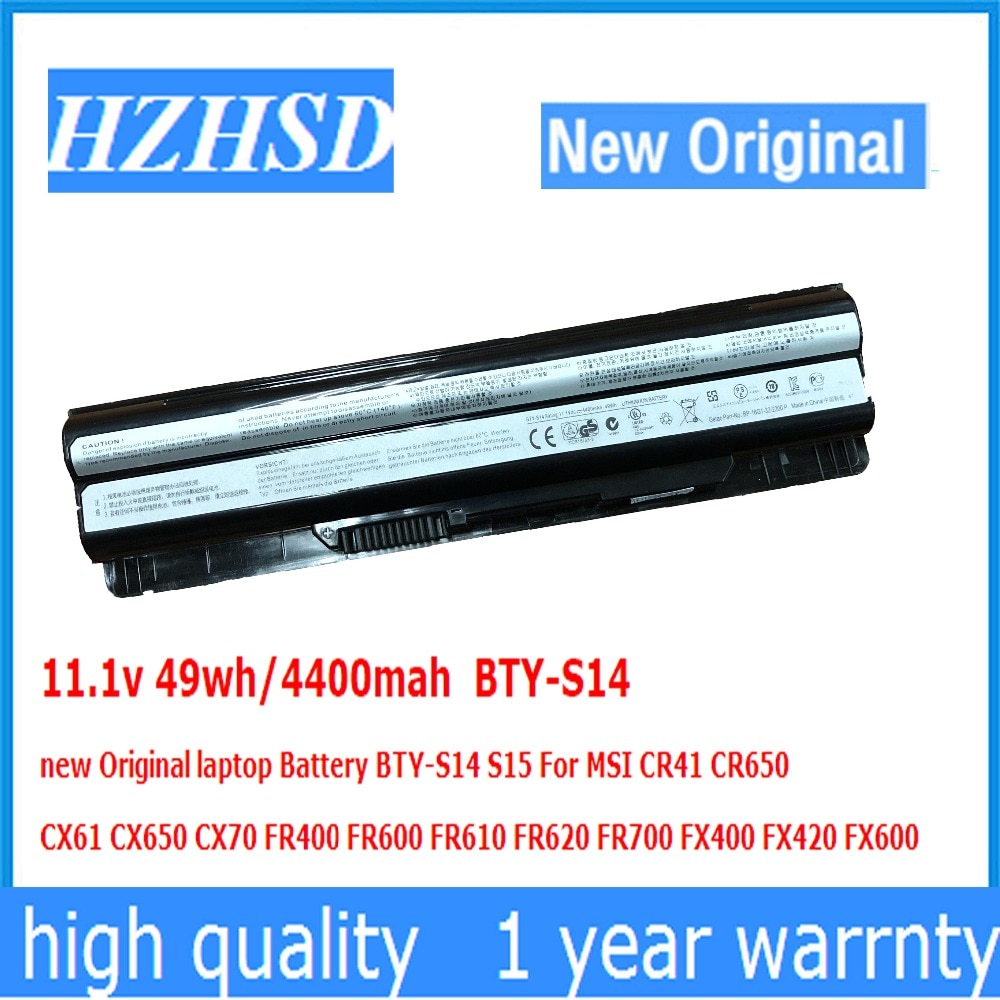 11,1 В 49wh/4400 мАч BTY-S14 новый оригинальный аккумулятор для ноутбука BTY-S14 S15 для MSI CR41 CR650 CX61 CX650 CX70 FR400 FR600 FR610 FR62