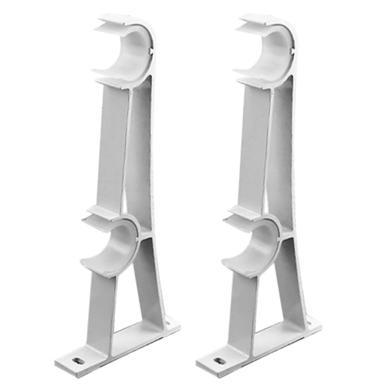 Behogar White 2PCS 20.5 x 8cm Curtain Rod Ring Track Drapery Poles Double Aluminum Alloy Curtain Bracket Holder Accessories
