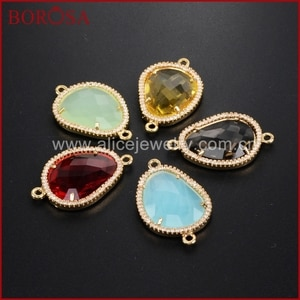 BOROSA Gold Faceted Framed Charms CZ Birthstone Pendants Charm Glass Bezel Connector For DIY Bracelet Jewelry WX385