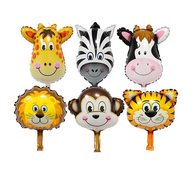 6 unid/set mini Animal de la selva Globos de papel de aluminio tigre león mono cebra ciervo vaca globo de helio de cumpleaños decoración para fiesta de boda Globos