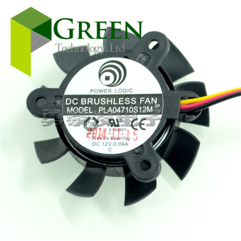 New POWER LOGIC DC12V 0.09A  PLA04710S12M 37mm diameter 25mm pitch 3 lines Graphics radiator fan