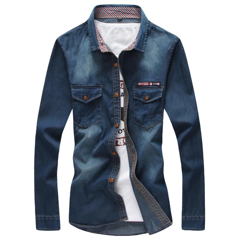 Camisa vaquera Masculina azul 2019, camisetas de tela vaquera para hombre, camisetas de vaquero para hombre 5XL, Camisa ajustada de estilo informal para hombre