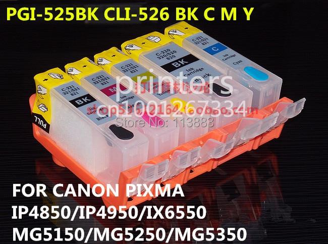PGI-525 CLI 526 refillable ink cartridge for canon PIXMA IP4850 IP4950 IX6550 MG5150 MG5250 MG5350 MX715 MX885 MX895 printer