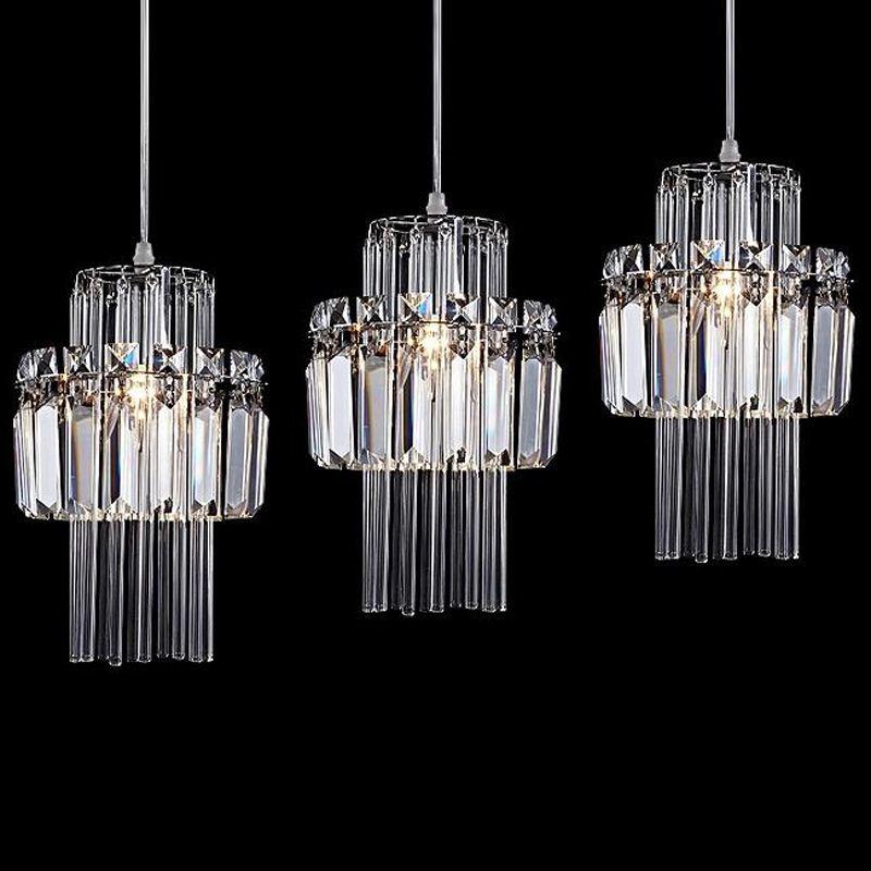 Cristal romântico Sala de Jantar Pingente Lâmpadas Moda Criativa Cozinha Bar Luminária Corredor Varanda Luminárias Pendentes