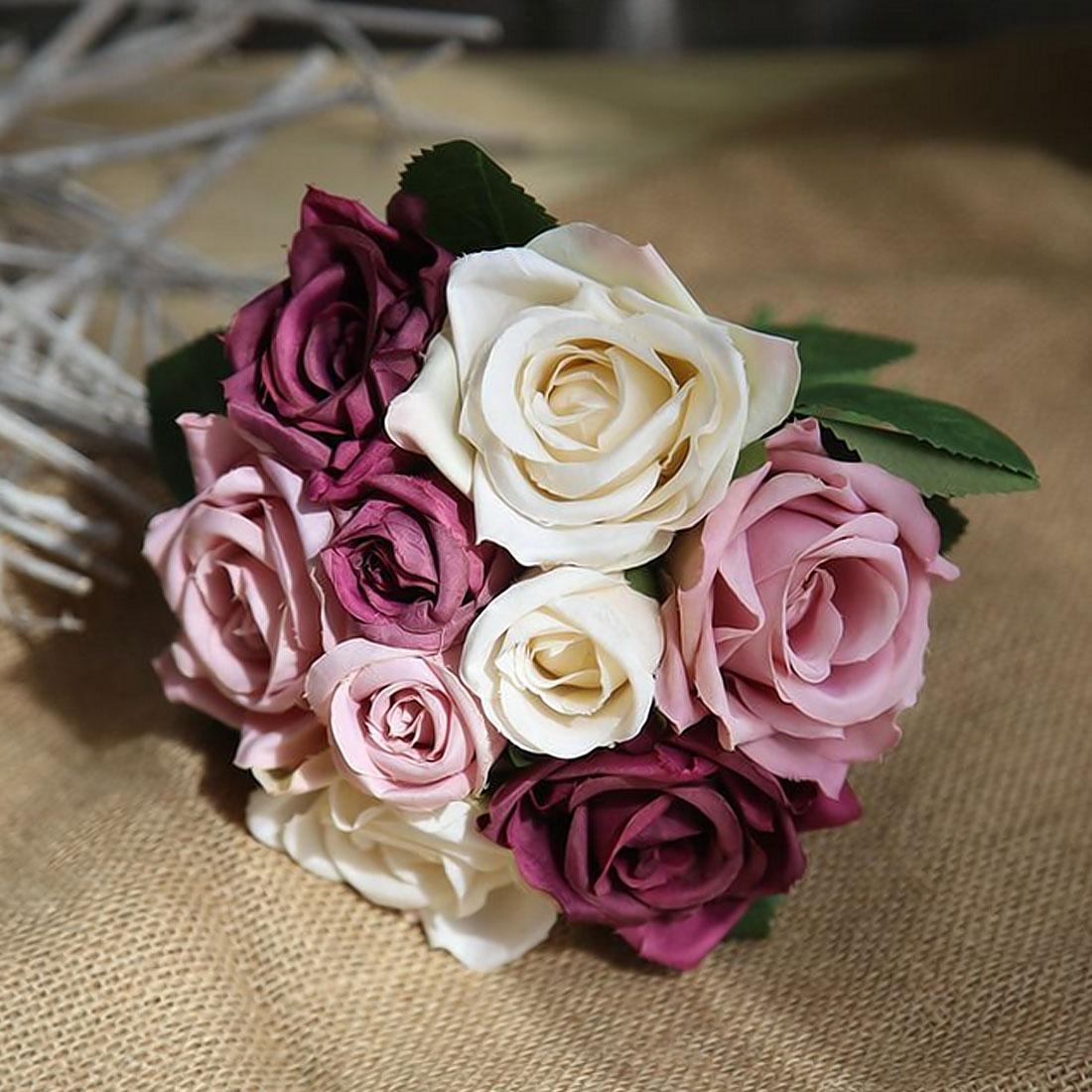 Высокое качество 9 шт Роза цветы банкет тайская Королевская роза свадебное украшение Искусственные цветы Искусственный шелк цветок розы домашний декор