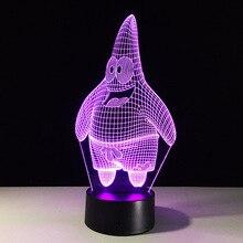 Patrick Star Stich Kaninchen Acryl 7 Farben Schreibtisch Cartoon 3D Lampe Neuheit Led Nacht Licht Spongebob Square Pants Decor Lampe