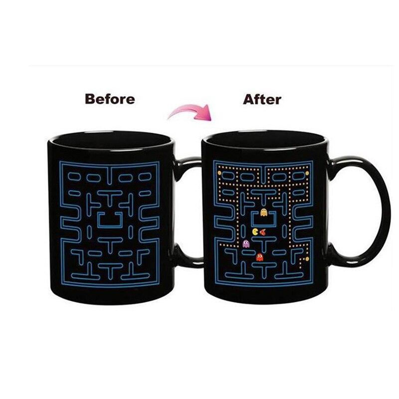 Taza de decoloración creativa de 330 ml, juego de serpiente glotona, vajilla de cerámica sensible al calor para té, leche, café, tazas, taza