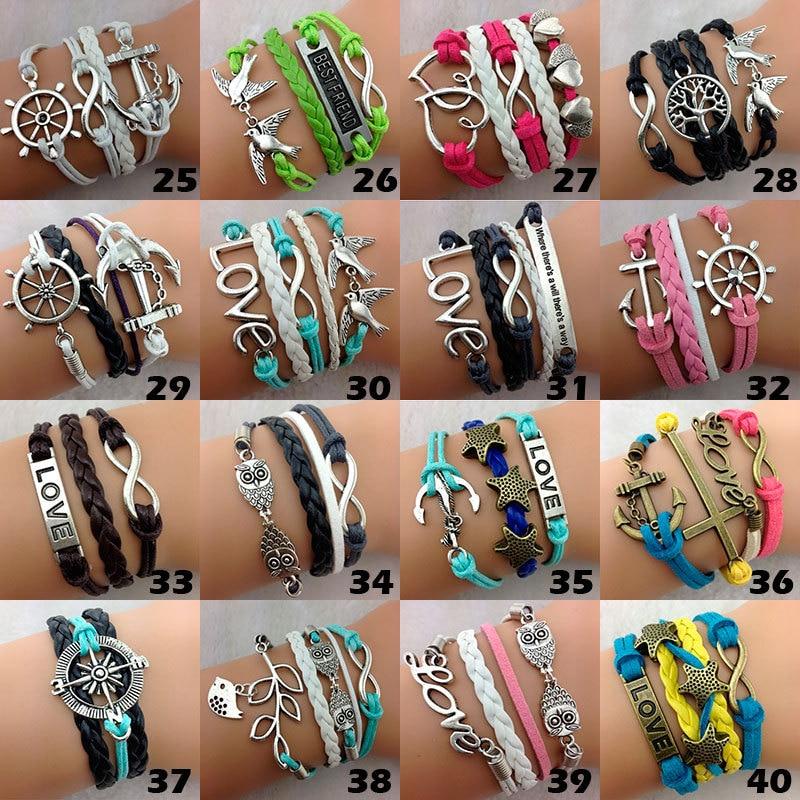Wholesale Bulk Lots 100pcs Multilayer Leather Bracelets Mix Styles Men Women Vintage Tribal Hand-woven Cuff Fashion jewelry