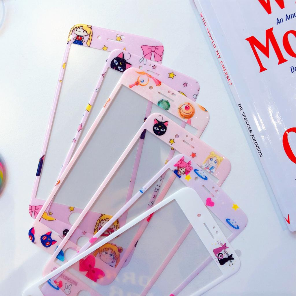 Vidrio Templado 3D 6s para iphone 7 plus Protector de pantalla para iphone 6 8 Plus película completa de dibujos animados Sailor Moon Cat patrón