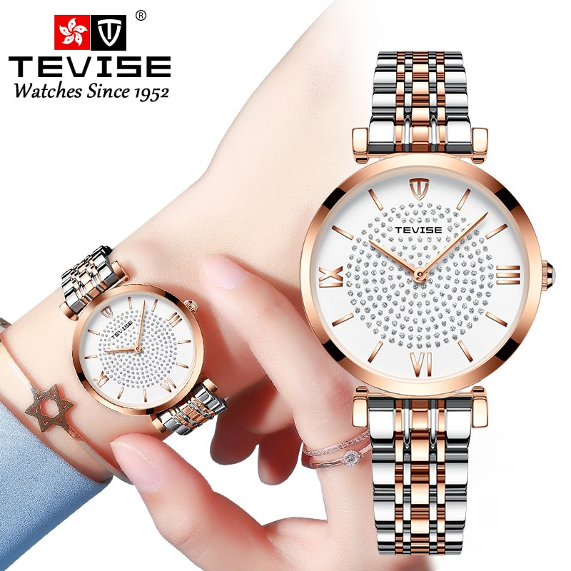 Tevise Brand Top luxury fashion Watch Women Water Resistant Gold Watch Quartz Diamond Timepiece Wome
