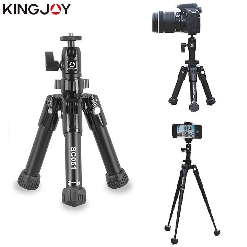 Kingjo oficial sc051 mini tripé de mesa câmera para o telefone móvel tripe para movil alumínio tripode suporte selfie vara