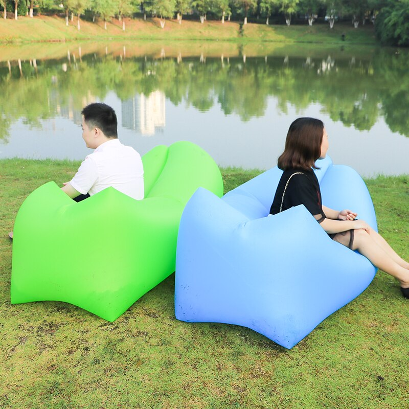 Estera de Camping al aire libre de hinchado rápido sofá Lazy Bag aire sofá tumbona saco de dormir cama de adulto tumbona de aire silla Camping colchón
