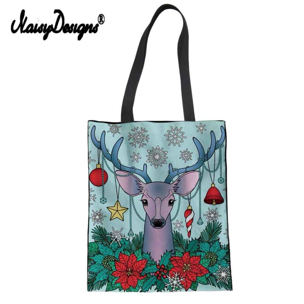 Feliz Navidad mujeres bolso de compras plegable bolsos bolsas reutilizables de algodón ecológico bolsa grande Elk Ciervo
