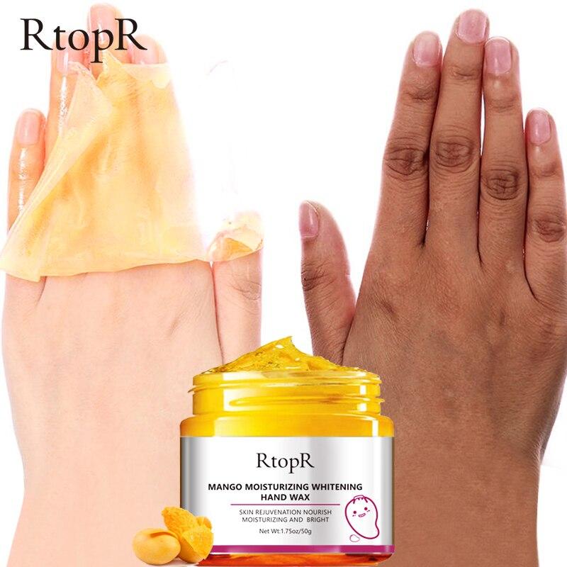 RtopR mangue masque pour les mains blanchissant hydratant réparation exfoliant callosités cire pour les mains film Anti-âge crème pour la peau des mains 50g