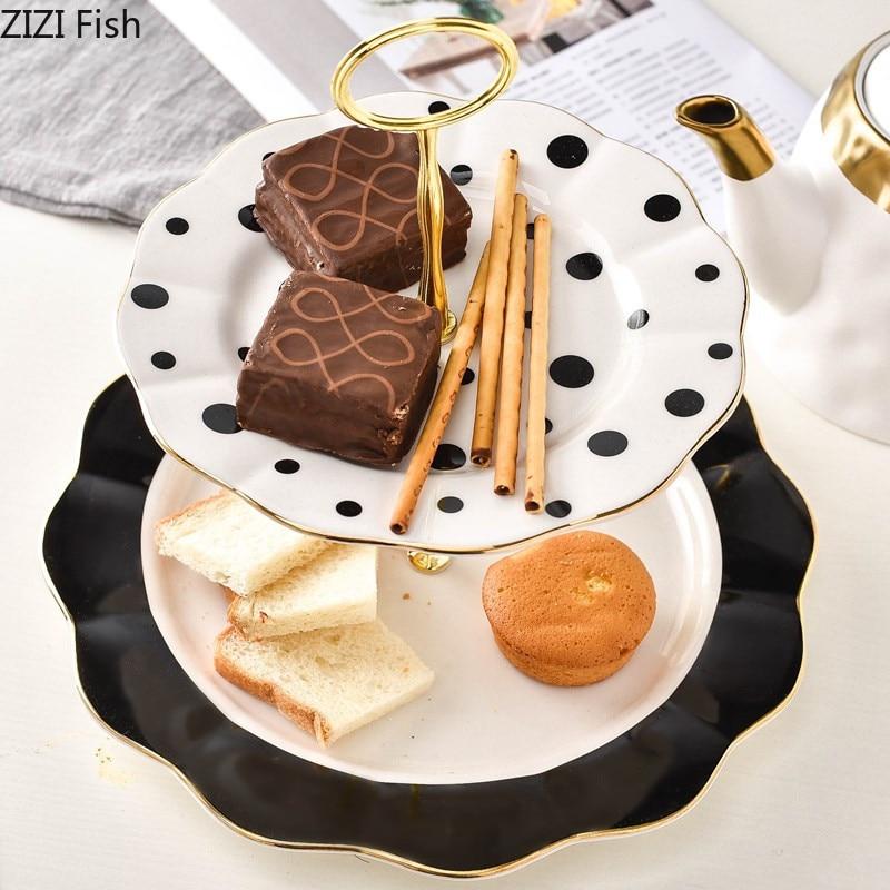 Cerámica de estilo nórdico creativo, bandeja de doble capa para fruta de punto de onda blanco y negro, bandeja para tarta, bandeja de postre, soporte de exhibición para fiesta de boda