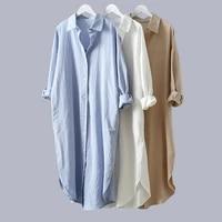 cotton women blouse shirt dress beach vacation new linen cottons casual plus size womans long section shirt whiteblue