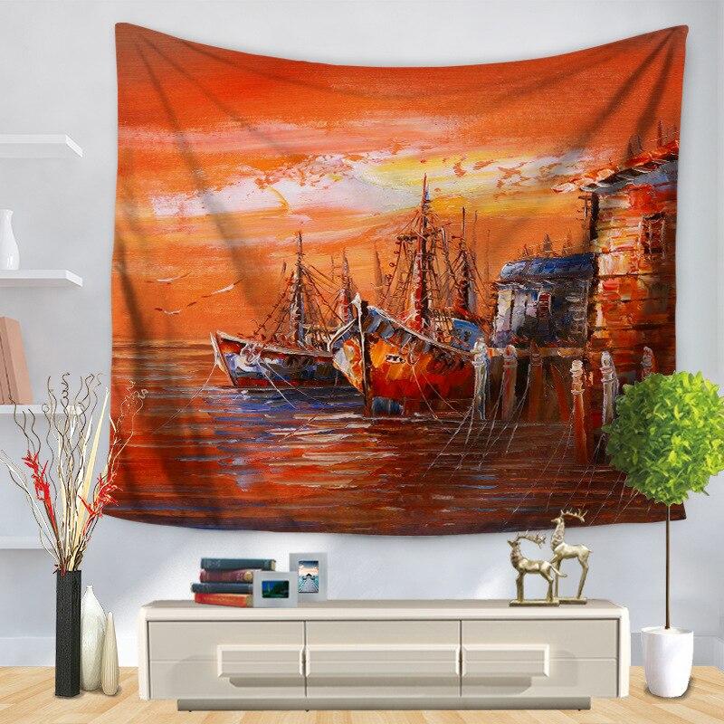 Paisaje europeo, pintura al óleo de paisaje, tapiz decorativo para el hogar, tapices, alfombra colgante para pared, toalla de playa, funda de sofá, esterillas de Yoga