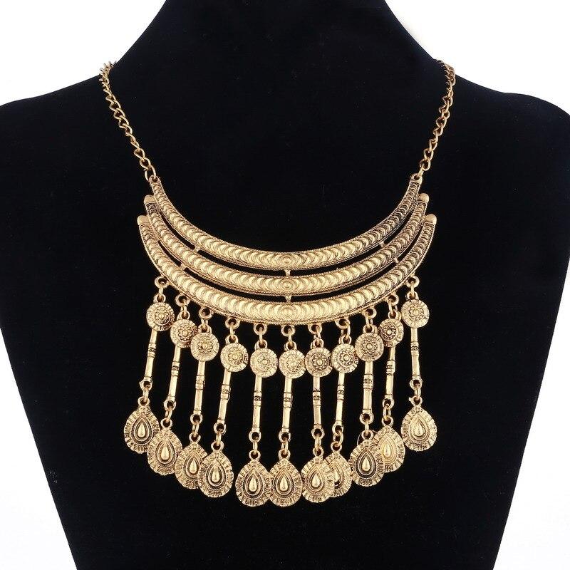 Oro/plata plateado borla de Bohemia de collar Maxi de mujer largo de aleación de Zinc de Colar gargantilla de estilo étnico joyería de fiesta