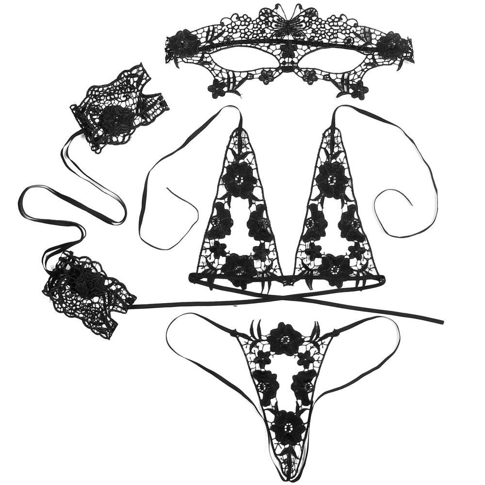 4pcs Set Women Sexy Underwear Lingerie Black Bra Open Crotch Lace Hot Transparent Babydoll Dress Erotic Costumes Nuisette
