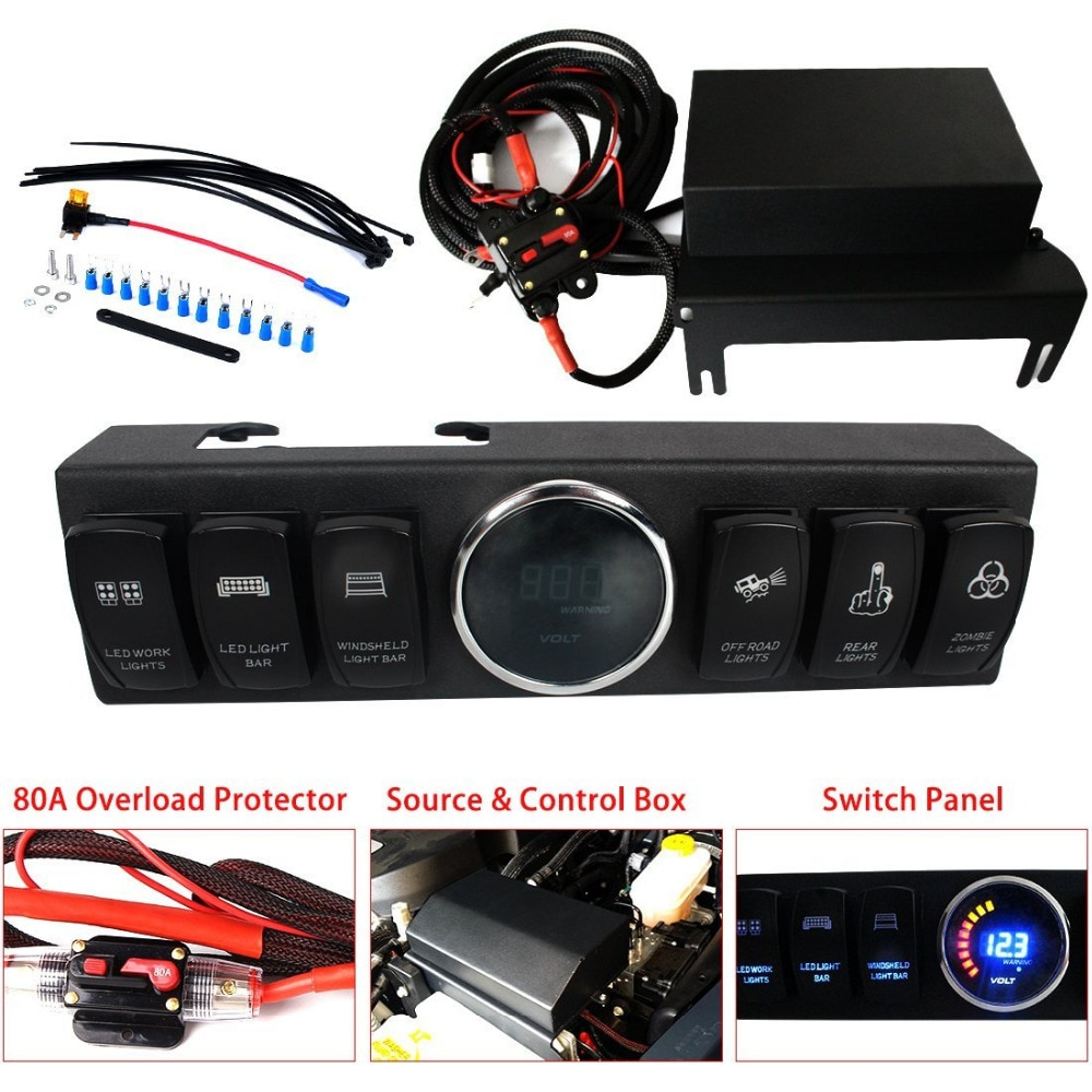 Vaina/Panel de 6 interruptores con sistema de Control y fuente luz trasera azul para Wrangler JK & JKU 2009-2017