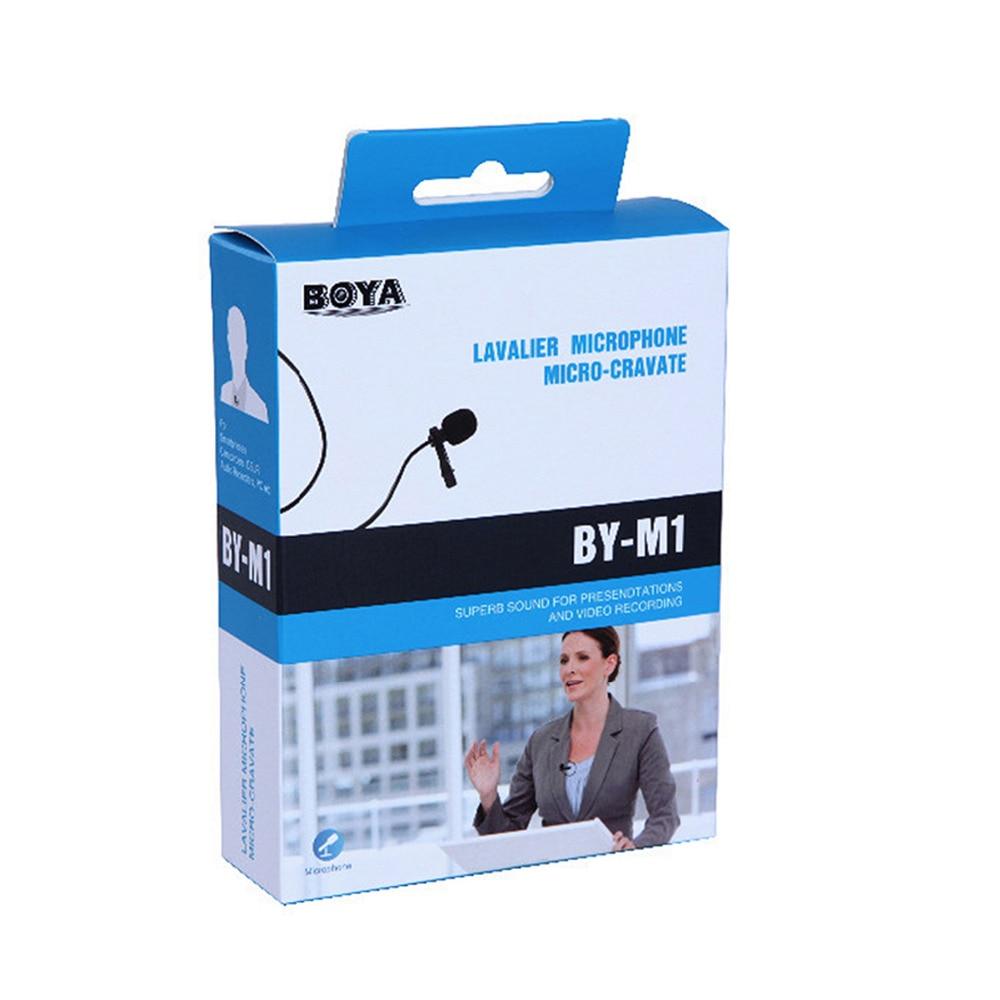 BOYA micrófono condensador omnidireccional Lavalier para Canon, para iPhone 7 6s Plus DSLR videocámara grabadores de Audio etiqueta AV BY-M1