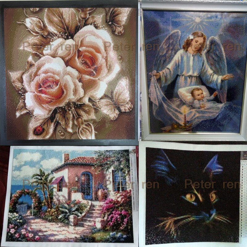 Peter ren diamond painting cross stitch artwork Diy round diamond Mosaic Full embroidery Rhinestones Nativity of the straw house
