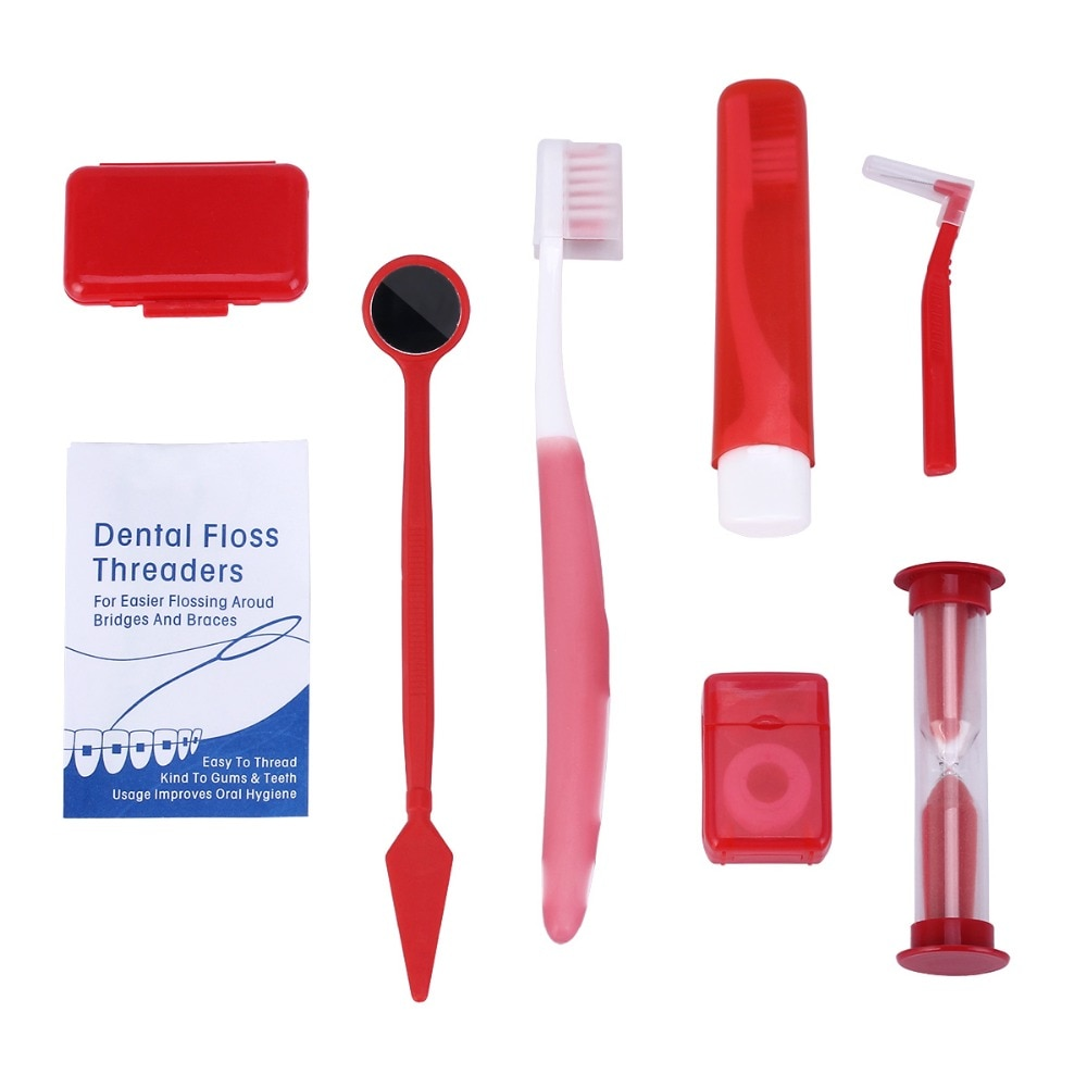 8pc/Bag Orthodontic Oral Care Kit Teeth Whitening Tooth Brush Mouth Mirror Interdental Brush Dental