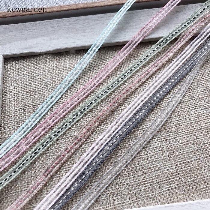"Kewgarden 6mm 1/4"" Dotted Line Organza Ribbons Handmade Bowknot Yarn Ribbon DIY Tape Riband Clothing Accessories 10m /lot"