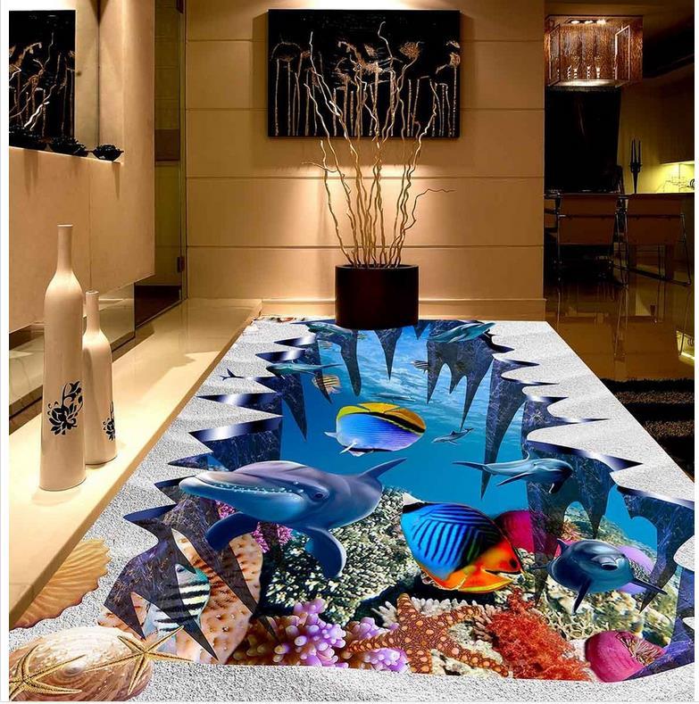 PVC Wand papier selbstklebende Boden wandbild Unterwasserwelt Dolphin Beach Fisches Individuelle Foto Boden 3D Wallpaper Moderne Kunst
