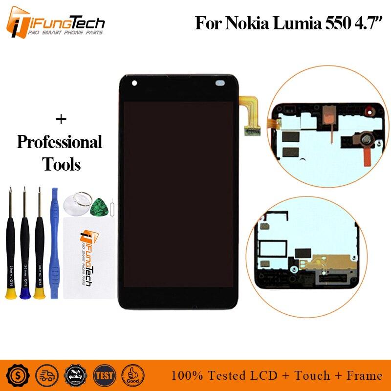 "Para Nokia Lumia 550 pantalla LCD de pantalla táctil digitalizador Asamblea reemplazo partes para Lumia 550 RM-1127 4,7 ""Pantalla LCD"