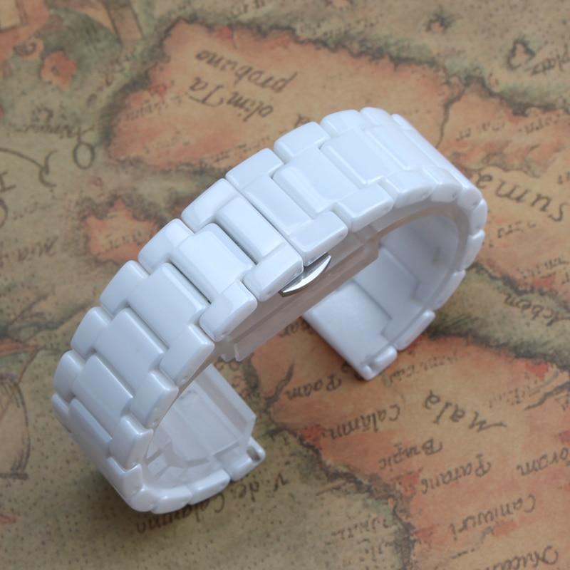 Ремешки для наручных часов 12 мм 14 мм 16 мм 18 мм 20 мм 22 мм белые чисто керамические Ремешки для наручных часов браслеты Дамский ремень новые мод...