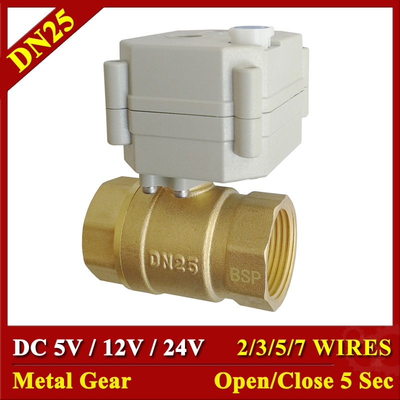 DC5V 12 فولت 24 فولت المعادن والعتاد بمحركات صمامات النحاس 1 ''TF25-B2 سلسلة 2/3/5/7 الأسلاك 2 طريقة DN25 الكهربائية اغلاق الصمامات