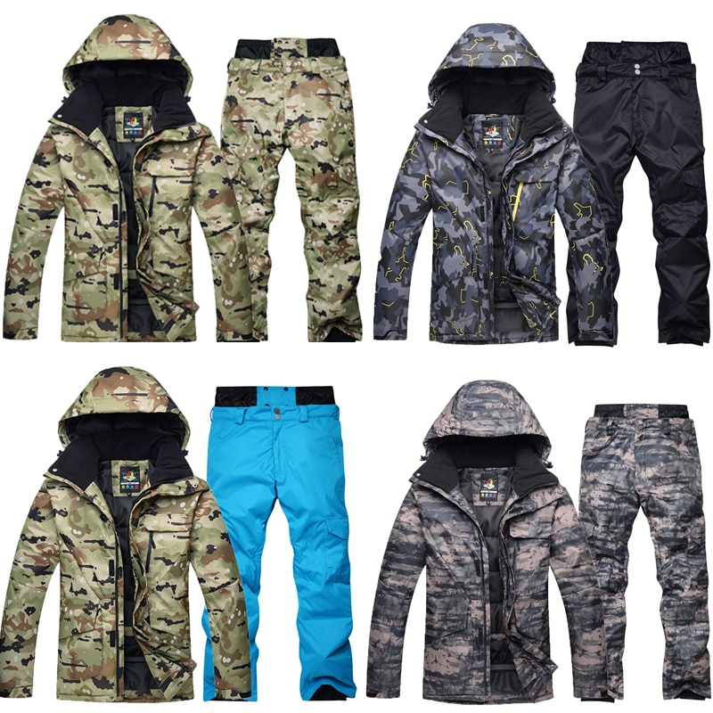 High-quality Camouflage Ski Suit Sets Jacket+Pants Warm Waterproof Windproof  Climbing Mountain Outdoor Snowboarding Clothes