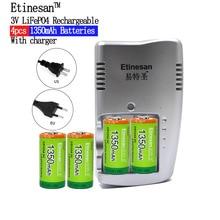 Etinesan LiFePO4 17335 cellule Rechargeable CR123A Li-ion batterie 3.0V 1350mAh